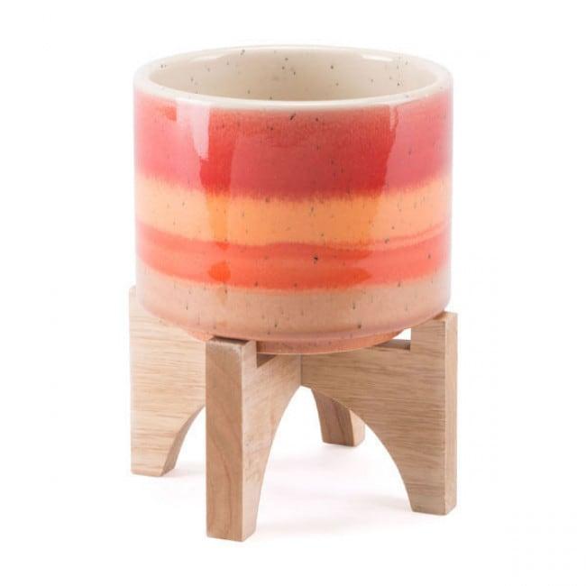 Maceta Modelo Orange Stripes Chica - Naranja - Këssa
