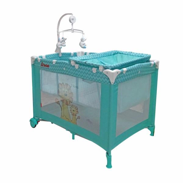 Cuna Corral Musical Zoo Baby Azul