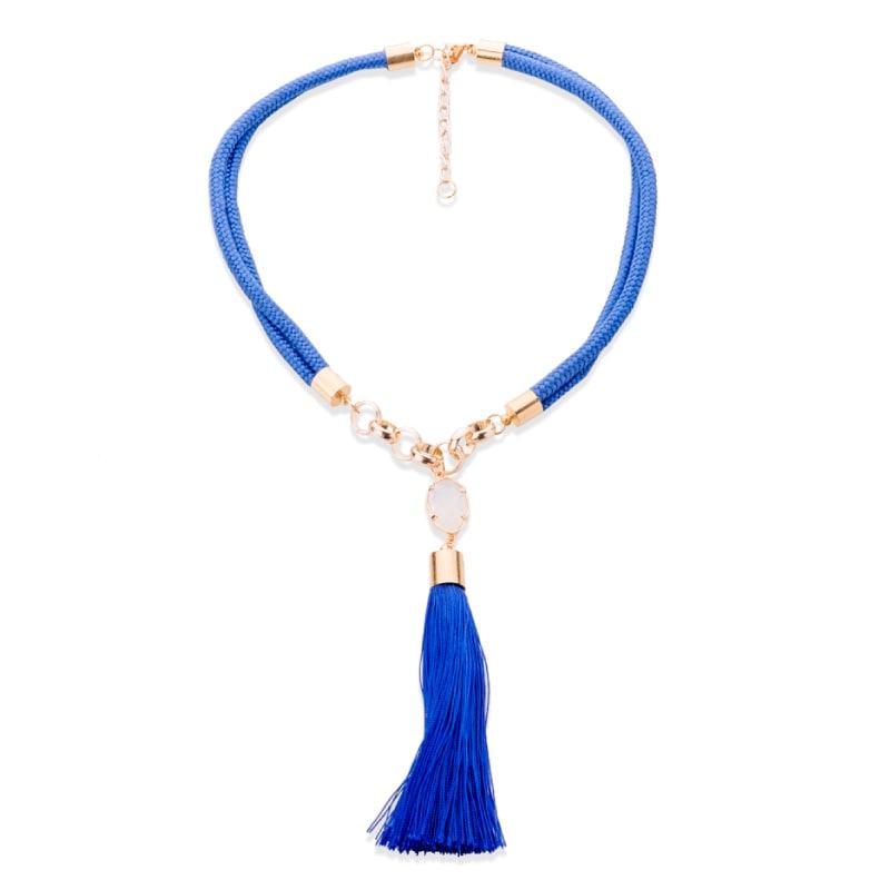 Collar Mota Azul y Cuarzo, elaborado a mano de forma artesanal, Gabriela Nuñez Diseñadora Mexicana