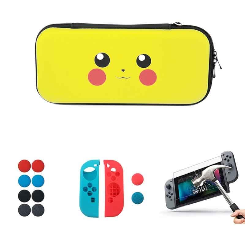 Nintendo Switch Estuche + Funda + Mica + Grips (Pikachu)