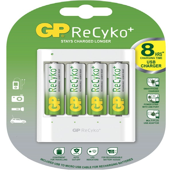 GP Batteries Recargable Cargador con 4 pilas AA de 1.2v 2000 mAh