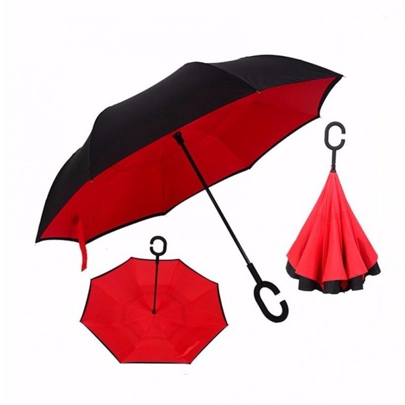 Paraguas Invertido Diseño Innovador Doble Tela Azul Marino