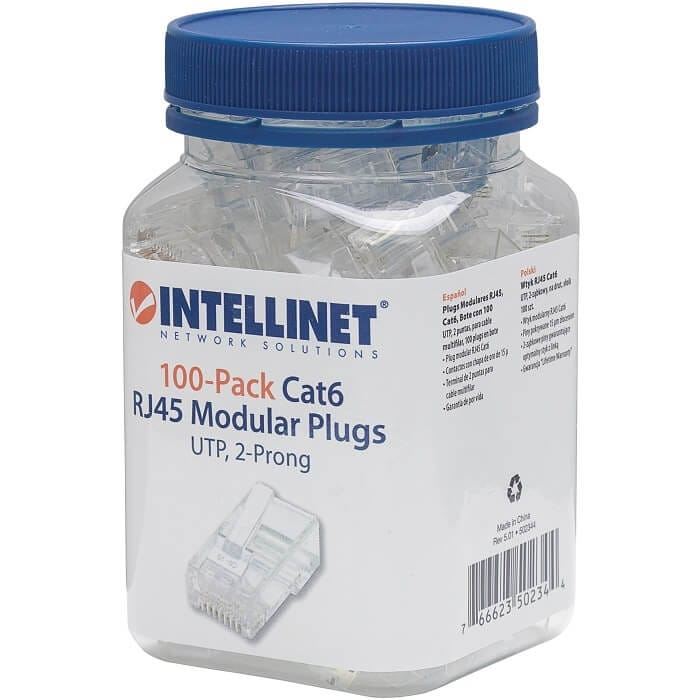 Plug Bote 100 Piezas Conector RJ45 Intellinet Cable UTP Cat 6E 502344