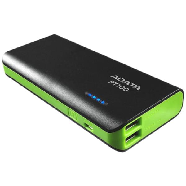 Bateria Portatil USB Adata PT100 Power Bank Cargador 10000mAh Negro/Verde APT100-10000M-5V-CBKGR