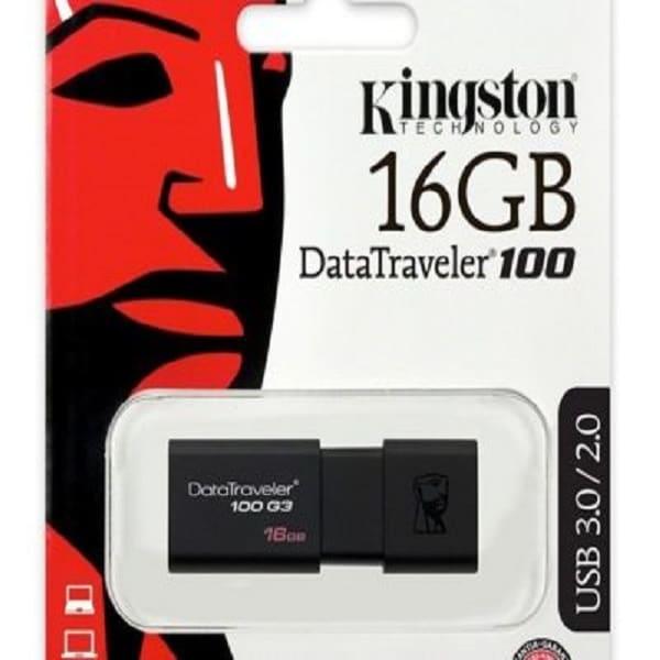 Memoria Flash USB 3.0 Kingston DataTraveler 100 16GB Negra (DT100G3/16GB)