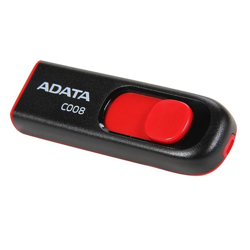 Memoria Flash USB Adata C008 8 GB Negro Con Rojo (AC008-8G-RKD)