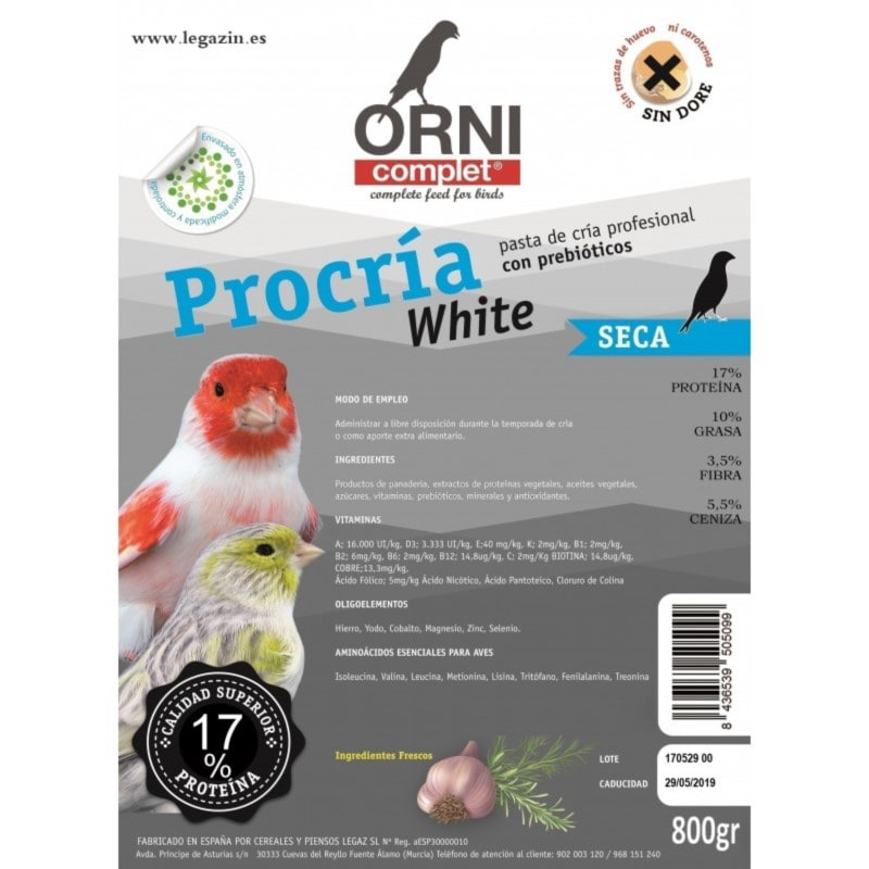 PASTA DE CRIA WHITE SECA 800 GRM MARCA LEGAZIN