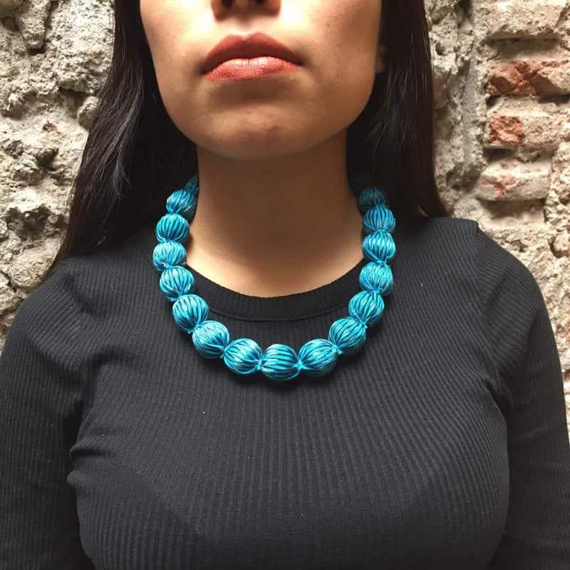 Collar Artesanal De Genuino Rebozo Mexicano Azul