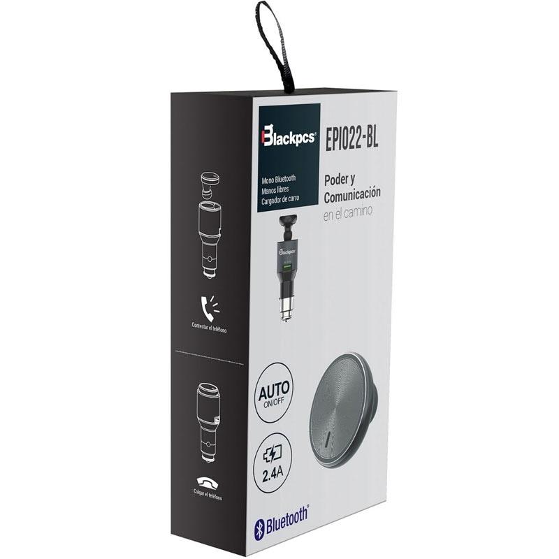 Manos Libres Bluetooth Cargador Auto 1 Pto Blackpcs Epi022-b