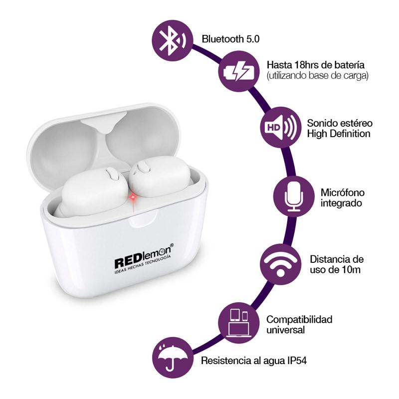 Redlemon Audífonos Bluetooth 5.0 True Wireless Stereo con Base de Carga, Resistentes a Salpicaduras de Agua