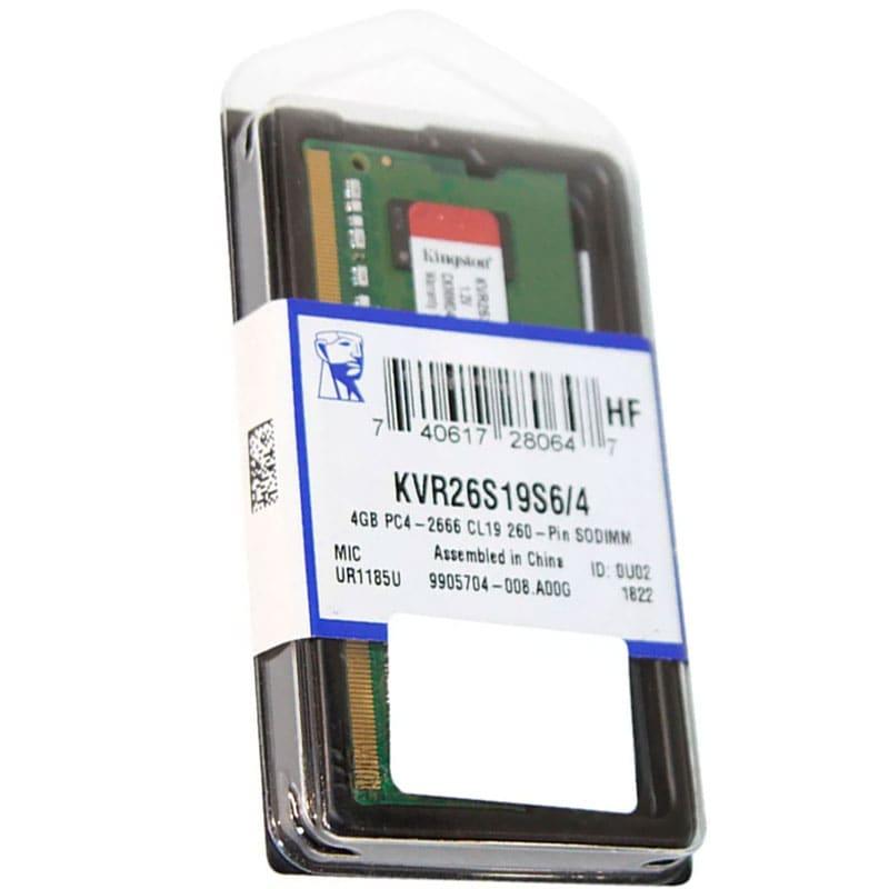 Memoria Ram Para Laptop Ddr4 4gb 2666mhz Kingston Kvr26s19s6/4