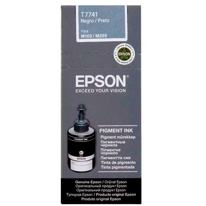 Botella Tinta EPSON T774 M100 M105 M200 M205 Negro T774120-AL