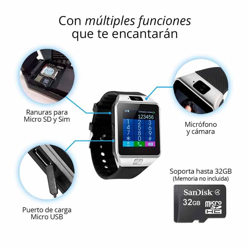 Redlemon Smartwatch Reloj Inteligente Bluetooth con Chip Micro SIM, Cámara, Pantalla Touch DZ09