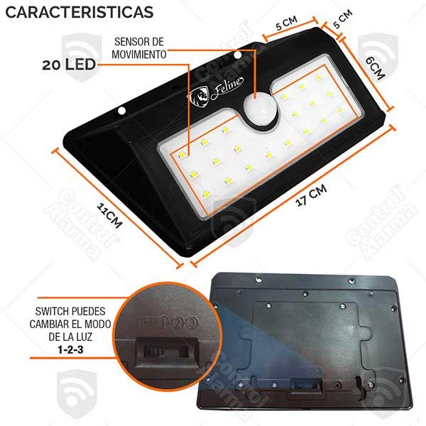 Lampara Solar 20 Led Reflector Exterior Sensor Movimiento