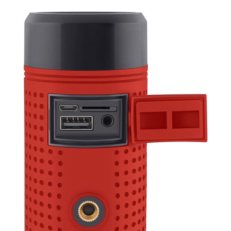 Linterna, bocina Bluetooth y cargador USB para bicicleta