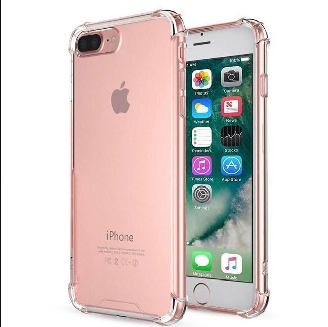 Iphone 7 plus case transparente air cushion  incluye mica de cristal templado 9h