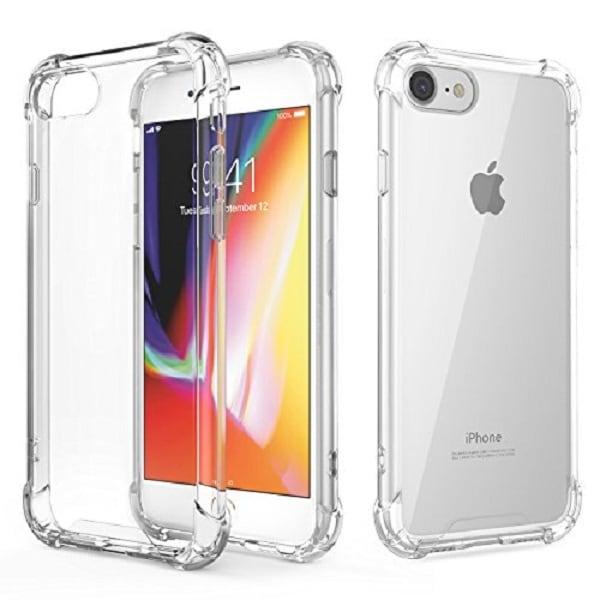 Iphone 8 case transparente air cushion  incluye mica de cristal templado 9h