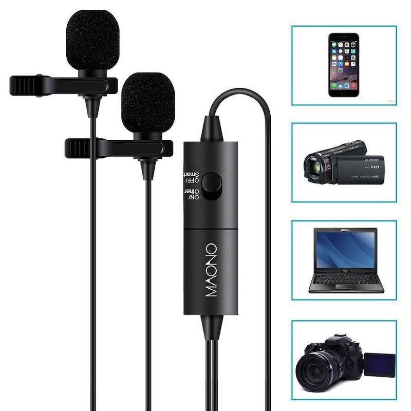 Micrófono Dual AU200 Maono Micrófono Lavalier 7 Basic Clipon y Omnidireccional Negro