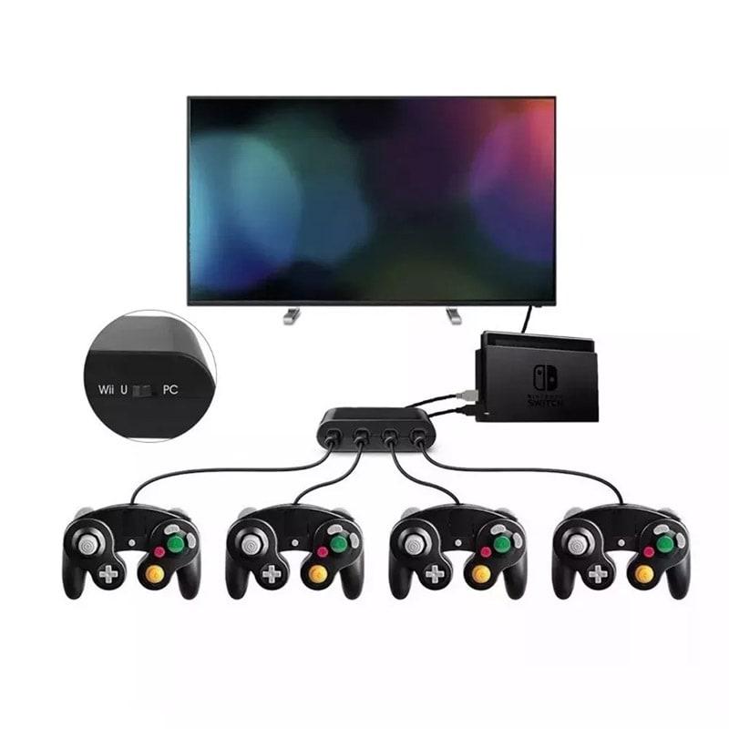 2 Pzas Controles Gamecube + Adaptador Para Nintendo Switch