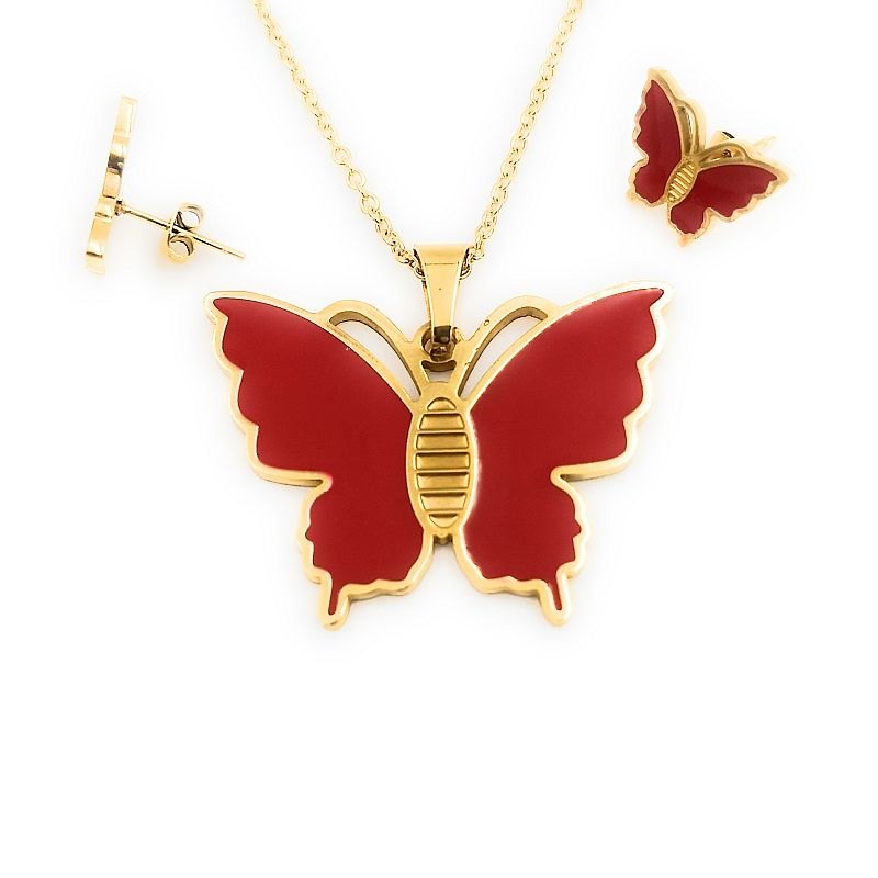 Kit Cadena Dije Y Aretes Mariposas Doradas con rojo Esmaltadas Acero