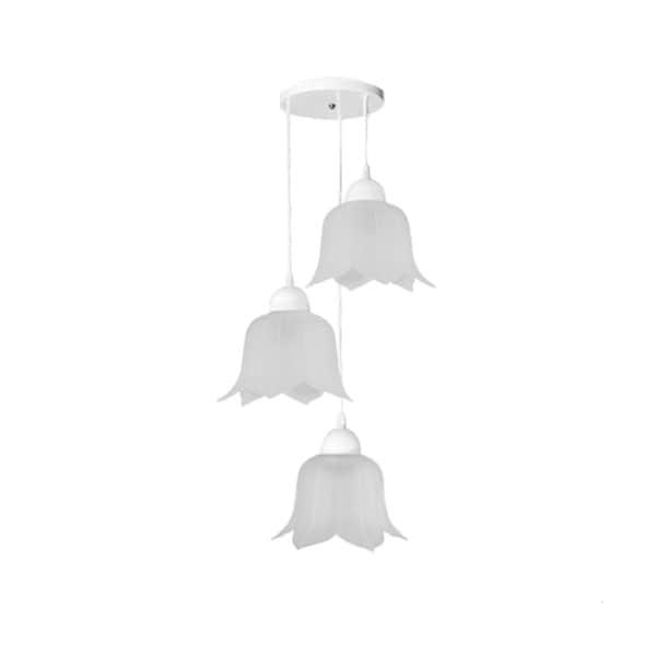 Lámpara Candil Triple Techo Flor Vidrio Mate Interior Maxxi