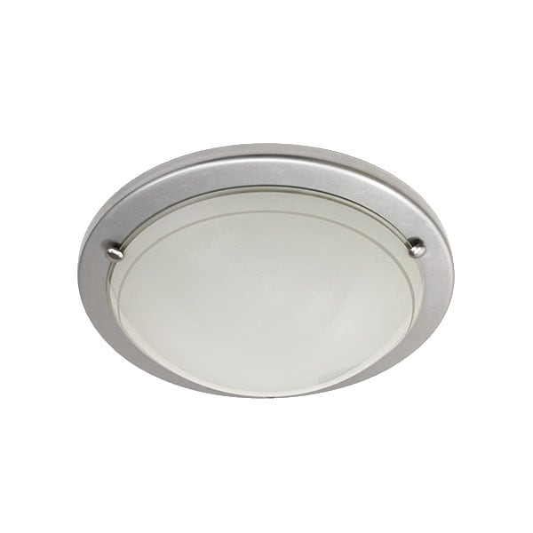 Lámpara Techo Vidrio Satinado Circular Lámina Acero Maxxi