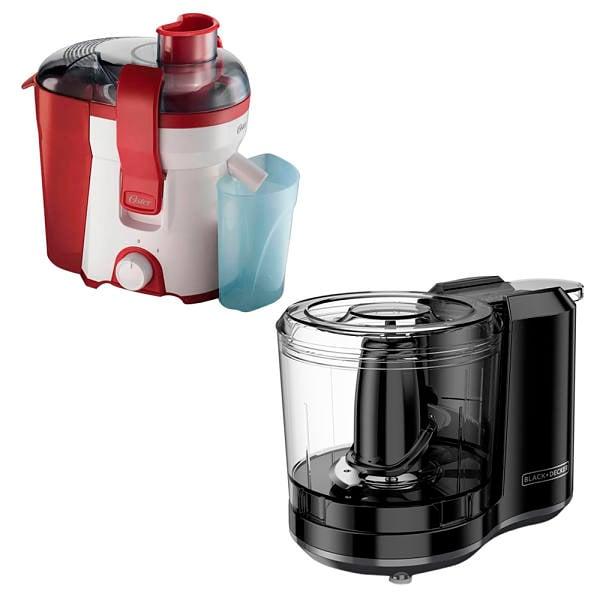 Combo desayuno Oster con procesador de alimentos y extractor de jugos color rojo