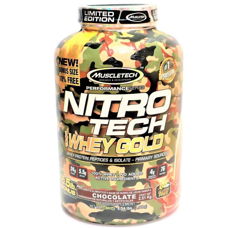 Proteína Nitrotech Camuflaje Whey Gold 5,5 libras Chocolate