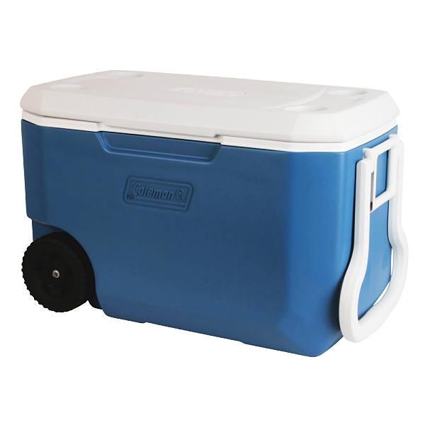 Hielera Coleman de 62 QT con ruedas color azul modelo  3000004025