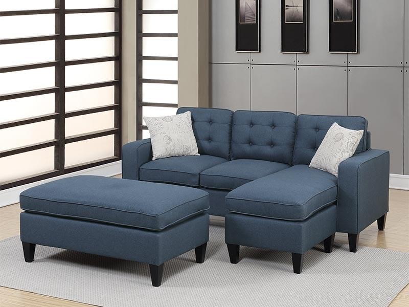 Sofá Seccional con Taburete – Ajustable a Cama Azul Marino F6577 - POUNDEX