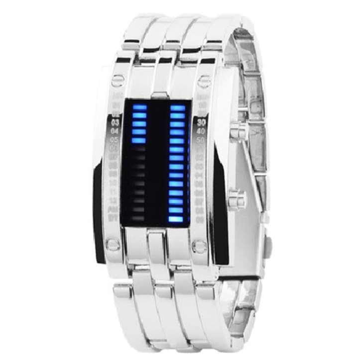 Reloj futurístico luxury digital LED silver
