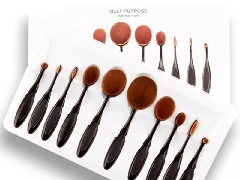 Set De 10 Brochas Para Maquillaje Oval Professional Purpouse