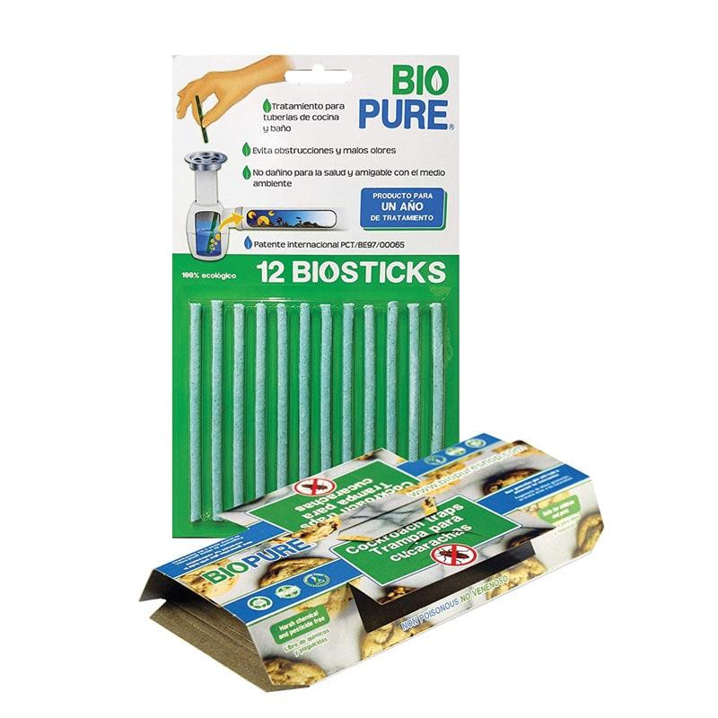 Biostick 12 Pack + Trampas de Pegamento Para Cucarachas 10 Pack - BIOPURE