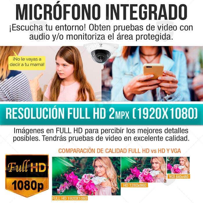 Mini Domo Camara Ip Wifi 1080p Full HD Fish Eye 150 grados App Sensor Cmos Sony