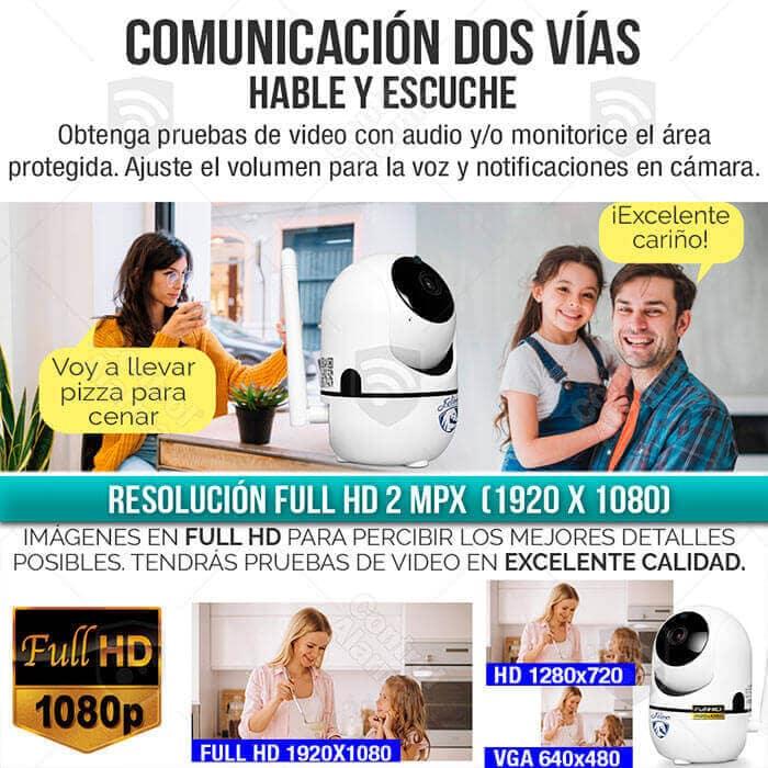 Camara Ip Full HD 1080p Blanca Rastreo Movimiento Wifi Auto Tracking Audio Dos Vias Video Vigilancia Casa o Negocio