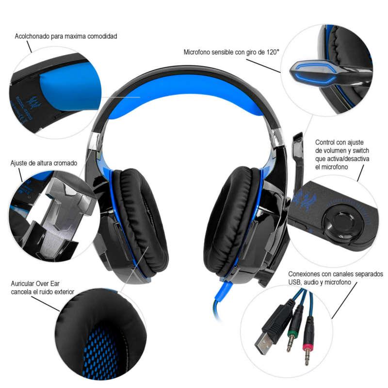Audifonos Gamer Kotion Each G2000 Microfono Diadema Luz Led