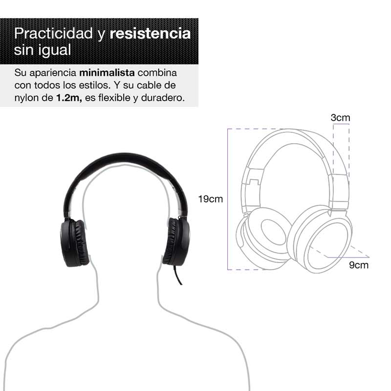 Redlemon Audífonos tipo Diadema Plegables Sonido HD Manos Libres Cable Aux