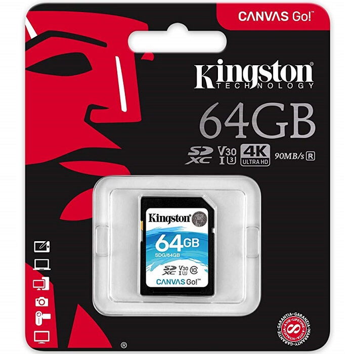 Memoria SD 64GB Kingston SDXC Clase 10 Canvas Go! SDG/64GB