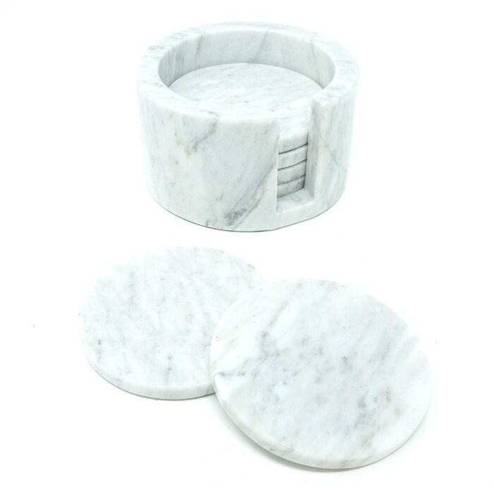 Set de 6 Portavasos cuadrado de Mármol Natural, Gris Mazahua / Incluye base para guardarlos /  Diseño elegante / Para bebidas frías o calientes