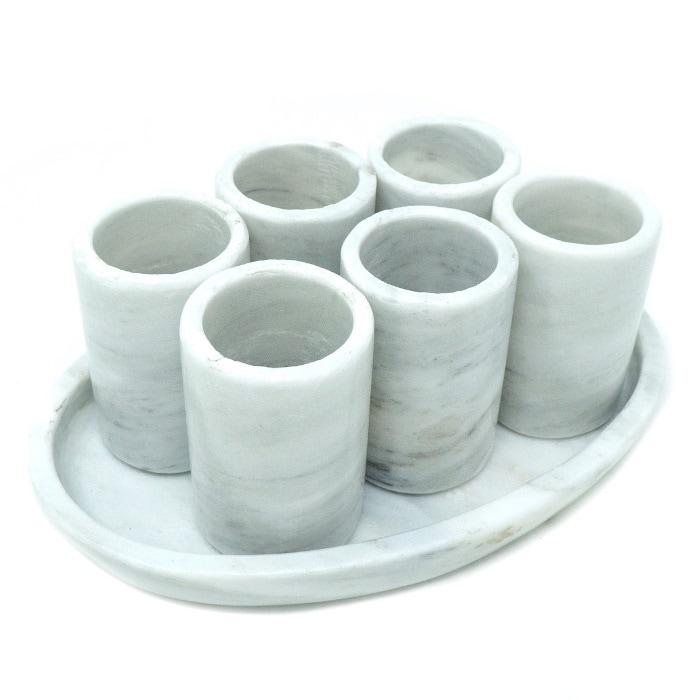 Juego de 6 Tequileros de Mármoll Natural, Gris Mazahua / Set de 6 caballitos de Mármol con bandeja / Vaso Tequilero, Mezcal / Vaso de chupito
