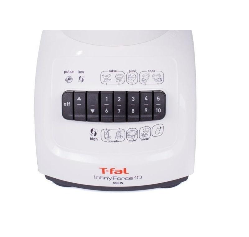 T-Fal Licuadora InfinyForce 10, 1.25 Litros, 550W, Blanco LN8001MX