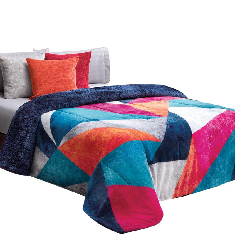 Cobertor De Borrega Picasso Multicolor  King Size Elefantito Hogar
