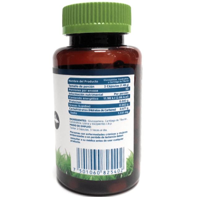 Recuperador articular Glucosamina Condroitina y Cartílago de Tiburón 100 cápsulas