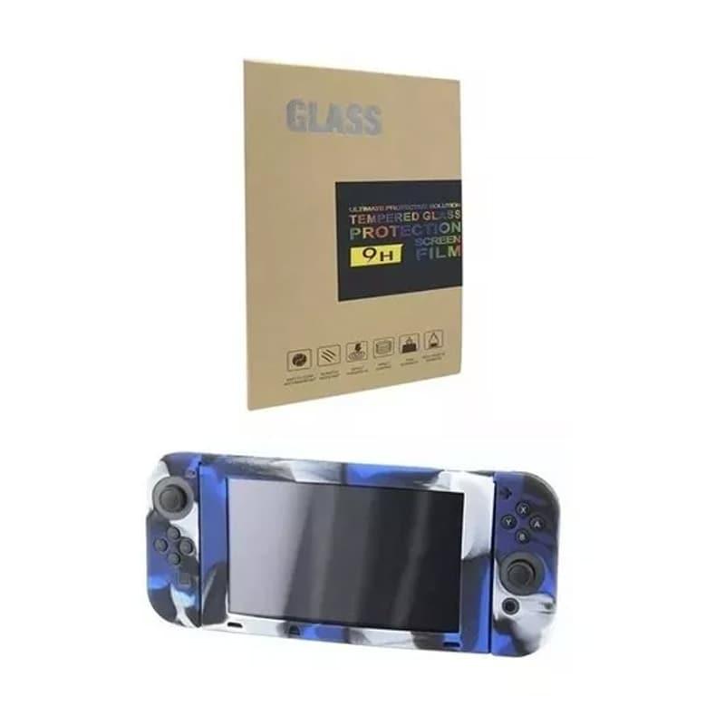 Combo Nintendo Switch Funda Camuflaje Azul Y Mica Templada