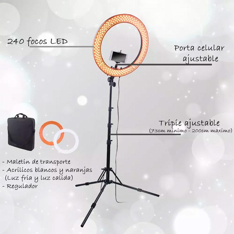 Aro Luz Led 240 Focos 18 Pulgadas Porta Celular Tripie Foto Video Maquillaje Lampara