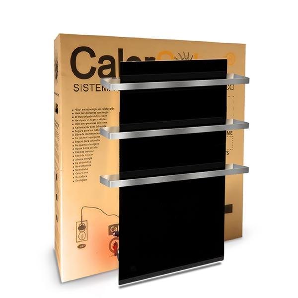 Toallero Calefactor Infrarrojo en Cristal, NewYork Wave Black Sapphire de 550w, con 3 colgantes 40x80cm TimerFree
