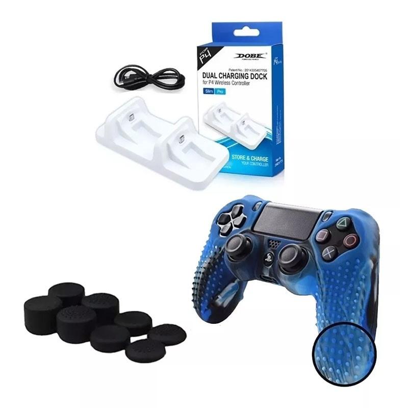 Ps4 Cargador Dual Controles + Funda Texturizada Camuflaje Azul + Gomitas