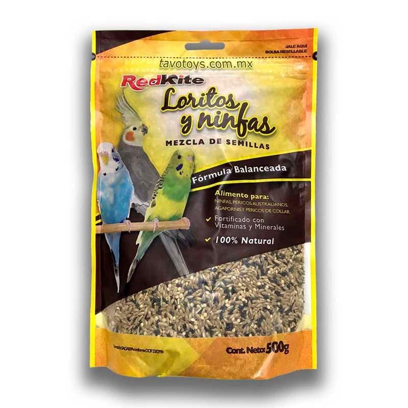 Alimento Para Aves Periquitos Del Amor Agapornis Loritos y Ninfas Redkite 500 g X 4 Pz