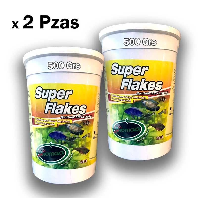 Alimento Para Peces Hojuelas Super Flakes 500 G X 2 Pz Biomaa Agua Dulce