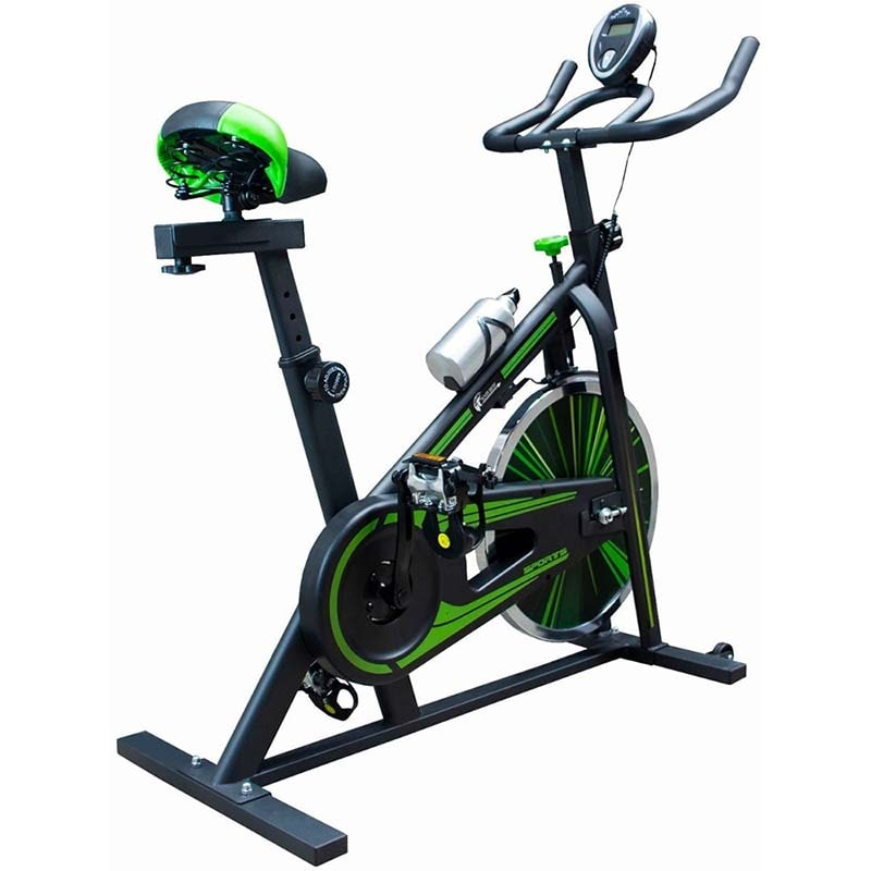 Bicicleta Fija Spinning Profesional 10kg Fitness Cardio Gym Verde Centurfit